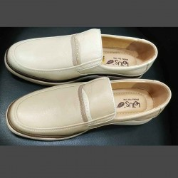 Men's Cream/White Leather Casual For Men Comfortable Men Shoe