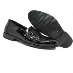 Glossy Leather Made Casual Loafer Shoe Moccasins Style