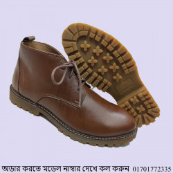 Brown Leather Casual Shoe Men Comfortable Inner Leather Insole