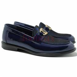 Glossy Leather Casual Moccasins Loafer Style Men shoe