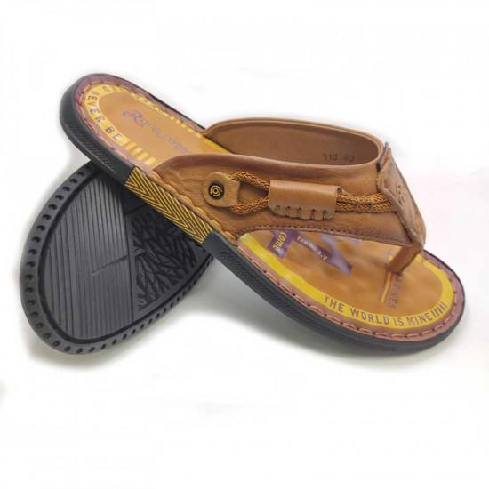 Flat Leather Sandal Men Comfortable Insole